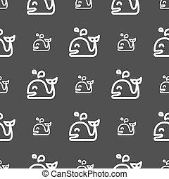 gris, modèle, signe., seamless, arrière-plan., vecteur, baleine, icône