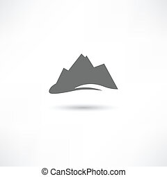 gris, montañas, símbolo