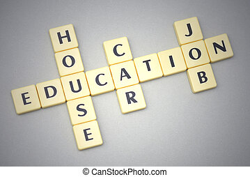 gris, mots, voiture, maison, education, métier, fond