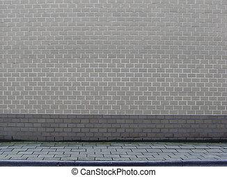 gris, mur, section, grand, trottoir, brique