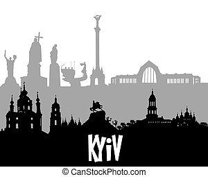 gris, noir, silhouette, kyiv