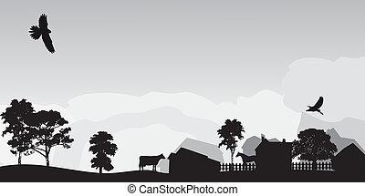 gris, paisaje, con, árboles, y, aldea