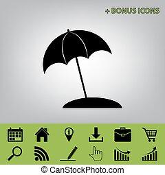 gris, parapluie, vector., icônes, bonification, soleil, signe., céleri, ceux, arrière-plan noir, chaise longue, icône