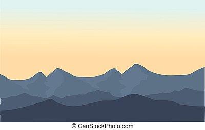 gris, paysage, montagne