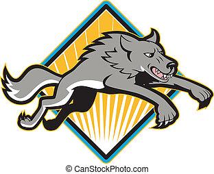 gris, perro, saltar, lobo, salvaje, atacar