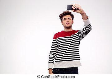 gris, photo, sur, désinvolte, fond, confection, homme, selfie, beau