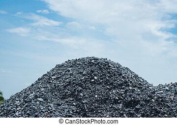 gris, pierre, préparer, béton, mélange, tas, gravier, construction.