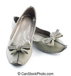 gris, plano, mujer, zapatos,  casual