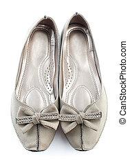 gris, plano, zapatos,  casual