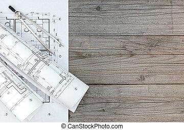 gris, planos, de madera, compás, rollos, arquitectónico, escritorio, dibujo