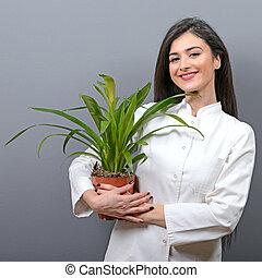 gris, plante, tenue femme, jeune, contre, uniforme, fond, ...