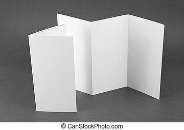 gris, plier, livret, arrière-plan., page blanche