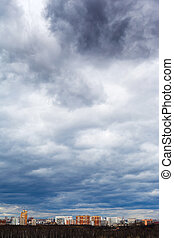 gris, pluvieux, nuages, ville, sombre, orage, sous