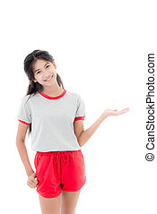 gris, pointage, t-shirt, adolescent, vide, heureux, white.