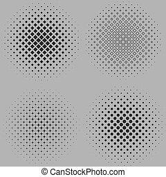 gris, pointillé, arrière-plans, isolé, illustration, halftone, quatre, vecteur