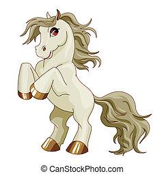 gris, poney