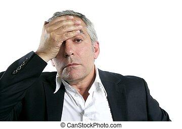 gris, preocupado, pelo, pericia, hombre de negocios, 3º edad, triste