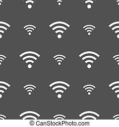 gris, réseau, modèle, signe., wifi, symbole., zone., sans fil, arrière-plan., vecteur, seamless, wi-fi, icône