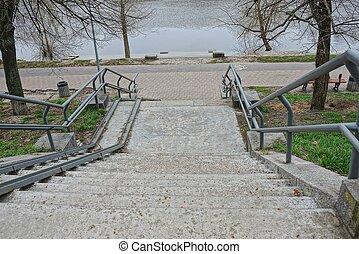 gris, réservoir, parc, béton, rivage, étapes, fer, rampes, escalier
