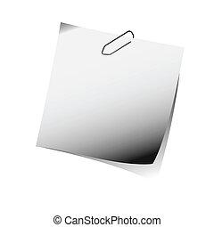 gris, recordatorio, nota, con, clip