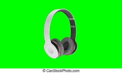 gris, render, écran, écouteurs, isolé, illustration, sans fil, arrière-plan vert, 3d