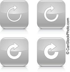 gris, repetición, reload, rotación, flecha, refrescar, icono