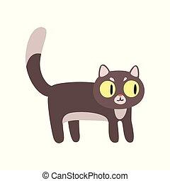 gris, rigolote, caractère, illustration, chat, vecteur, fond, blanc, dessin animé