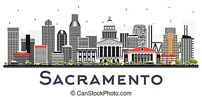 gris, sacramento, californie, isolé, bâtiments, horizon, ville, white.