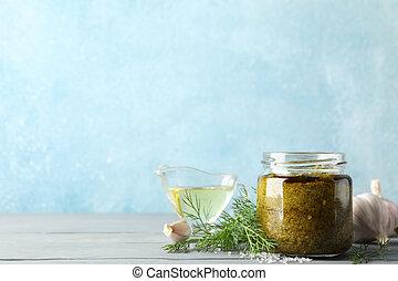 gris, sal, salsa, texto, plano de fondo, aceite, aceituna, pesto, tazón, ajo, espacio