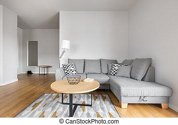 gris, salle de séjour, sofa