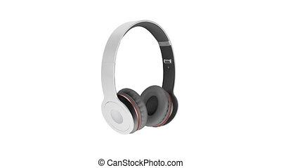 gris, sans fil, écouteurs, isolé, blanc, fond, 3d, illustration, render