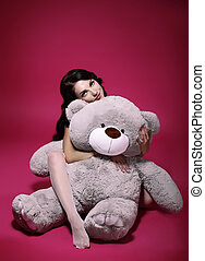 gris, sentimental, -, juguete, abrazo, dreaminess., niña,...