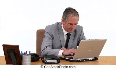 gris, sien, fonctionnement, personnes agées, informatique, complet, homme affaires