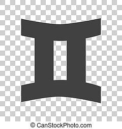 gris, signe., sombre, arrière-plan., gémeaux, transparent, icône