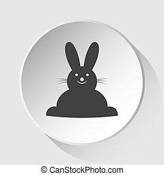 gris, simple, bouton, -, lapin, sourire, blanc, icône