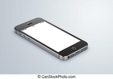 gris, smartphone, écran, moderne, vide, surface., élevé, mensonges, foyer, noir, quality., entier, image
