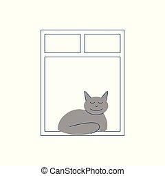 gris, sommeils, chat, fenêtre., assied, ouvert