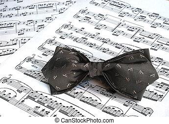gris, sommet, arc, musique, feuilles, cravate