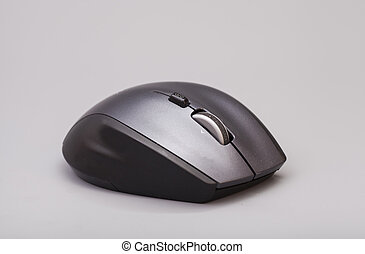 gris, souris, informatique, arrière-plan noir