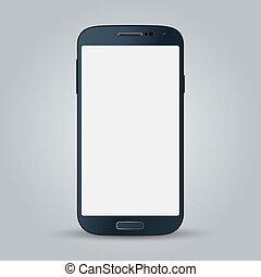 gris, style, business, mobile, isolé, téléphone, vecteur, arrière-plan noir