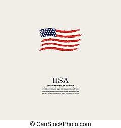 gris, style, grunge, drapeau etats-unis, fond