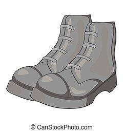 gris, style, hommes, bottes, icône, monochrome