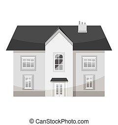gris, style, maison, deux storey, icône, monochrome