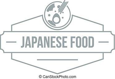 gris, style, nourriture, menu, japonaise, simple, logo