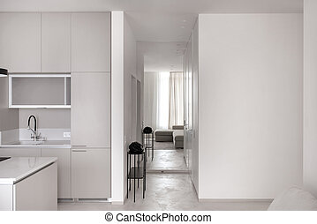 gris, style, plancher, lumière, moderne, murs, cuisine
