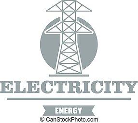 gris, style, puissance, simple, station, logo