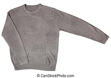 gris, suéter