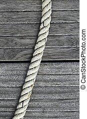 gris, sur, corde, teak, bois, vieilli, marin