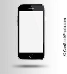 gris, téléphone, mobile, écran, arrière-plan., blanc, intelligent