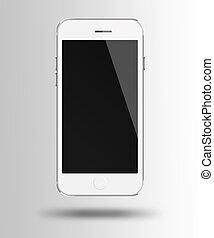 gris, téléphone, mobile, écran, arrière-plan., noir, intelligent
